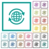 International flat color icons with quadrant frames - International flat color icons with quadrant frames on white background