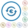 Euro pay back icons with shadows and outlines - Euro pay back flat color vector icons with shadows in round outlines on white background