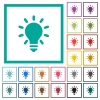 Lighting bulb flat color icons with quadrant frames - Lighting bulb flat color icons with quadrant frames on white background