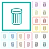 Recycle bin flat color icons with quadrant frames - Recycle bin flat color icons with quadrant frames on white background
