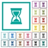 Hourglass flat color icons with quadrant frames - Hourglass flat color icons with quadrant frames on white background