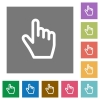 Hand cursor square flat icons - Hand cursor flat icons on simple color square backgrounds