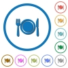 Dinner icons with shadows and outlines - Dinner flat color vector icons with shadows in round outlines on white background