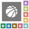 Basketball square flat icons - Basketball flat icons on simple color square backgrounds
