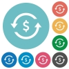 Dollar pay back flat round icons - Dollar pay back flat white icons on round color backgrounds