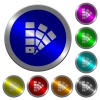 Color swatch luminous coin-like round color buttons - Color swatch icons on round luminous coin-like color steel buttons