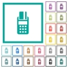 POS terminal flat color icons with quadrant frames - POS terminal flat color icons with quadrant frames on white background
