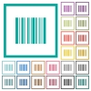 Barcode flat color icons with quadrant frames - Barcode flat color icons with quadrant frames on white background