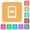 Mobile media fast backward rounded square flat icons - Mobile media fast backward flat icons on rounded square vivid color backgrounds.