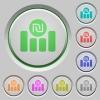 Israeli new Shekel financial graph push buttons - Israeli new Shekel financial graph color icons on sunk push buttons
