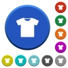 T-shirt beveled buttons - T-shirt round color beveled buttons with smooth surfaces and flat white icons