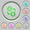 Pound Yen money exchange push buttons - Pound Yen money exchange color icons on sunk push buttons