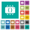 Hardware programming square flat multi colored icons - Hardware programming multi colored flat icons on plain square backgrounds. Included white and darker icon variations for hover or active effects.