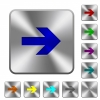 Right arrow engraved icons on rounded square glossy steel buttons - Right arrow rounded square steel buttons
