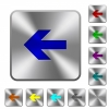 Left arrow engraved icons on rounded square glossy steel buttons - Left arrow rounded square steel buttons