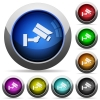 Security camera round glossy buttons - Security camera icons in round glossy buttons with steel frames
