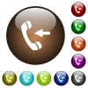 Incoming phone call color glass buttons - Incoming phone call white icons on round color glass buttons