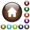 Home color glass buttons - Home white icons on round color glass buttons