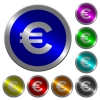 Euro sign luminous coin-like round color buttons - Euro sign icons on round luminous coin-like color steel buttons
