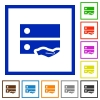 Shared drive flat framed icons - Shared drive flat color icons in square frames on white background
