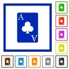 Ace of clubs card flat framed icons - Ace of clubs card flat color icons in square frames on white background