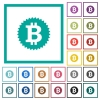 Bitcoin sticker flat color icons with quadrant frames - Bitcoin sticker flat color icons with quadrant frames on white background