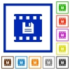 Save movie flat framed icons - Save movie flat color icons in square frames on white background