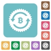 Bitcoin pay back guarantee sticker rounded square flat icons - Bitcoin pay back guarantee sticker white flat icons on color rounded square backgrounds
