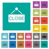 Close sign square flat multi colored icons - Close sign multi colored flat icons on plain square backgrounds. Included white and darker icon variations for hover or active effects.
