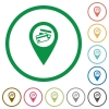 Credit card acceptance GPS map location flat icons with outlines - Credit card acceptance GPS map location flat color icons in round outlines on white background