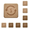 Dollar pay back wooden buttons - Dollar pay back on rounded square carved wooden button styles