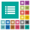 Unordered list square flat multi colored icons - Unordered list multi colored flat icons on plain square backgrounds. Included white and darker icon variations for hover or active effects.