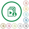 Playlist author flat icons with outlines - Playlist author flat color icons in round outlines on white background