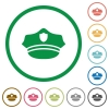 Police hat flat icons with outlines - Police hat flat color icons in round outlines on white background
