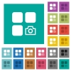 Camera plugin square flat multi colored icons - Camera plugin multi colored flat icons on plain square backgrounds. Included white and darker icon variations for hover or active effects.