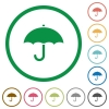 Umbrella flat icons with outlines - Umbrella flat color icons in round outlines on white background