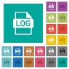 LOG file format square flat multi colored icons - LOG file format multi colored flat icons on plain square backgrounds. Included white and darker icon variations for hover or active effects.