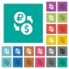 Ruble Dollar money exchange square flat multi colored icons - Ruble Dollar money exchange multi colored flat icons on plain square backgrounds. Included white and darker icon variations for hover or active effects.