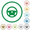 Steering wheel flat icons with outlines - Steering wheel flat color icons in round outlines on white background