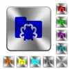 Bug folder rounded square steel buttons - Bug folder engraved icons on rounded square glossy steel buttons