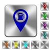Gas station GPS map location rounded square steel buttons - Gas station GPS map location engraved icons on rounded square glossy steel buttons