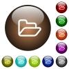 Open folder color glass buttons - Open folder white icons on round color glass buttons