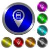 Car service GPS map location luminous coin-like round color buttons - Car service GPS map location icons on round luminous coin-like color steel buttons