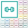Barbell flat color icons with quadrant frames - Barbell flat color icons with quadrant frames on white background