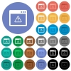 Application warning round flat multi colored icons - Application warning multi colored flat icons on round backgrounds. Included white, light and dark icon variations for hover and active status effects, and bonus shades on black backgounds.
