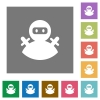 Ninja avatar square flat icons - Ninja avatar flat icons on simple color square backgrounds