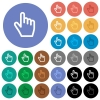 Hand cursor round flat multi colored icons - Hand cursor multi colored flat icons on round backgrounds. Included white, light and dark icon variations for hover and active status effects, and bonus shades on black backgounds.