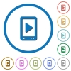 Mobile play media icons with shadows and outlines - Mobile play media flat color vector icons with shadows in round outlines on white background
