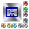 Webshop application rounded square steel buttons - Webshop application engraved icons on rounded square glossy steel buttons