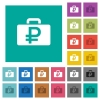 Ruble bag square flat multi colored icons - Ruble bag multi colored flat icons on plain square backgrounds. Included white and darker icon variations for hover or active effects.